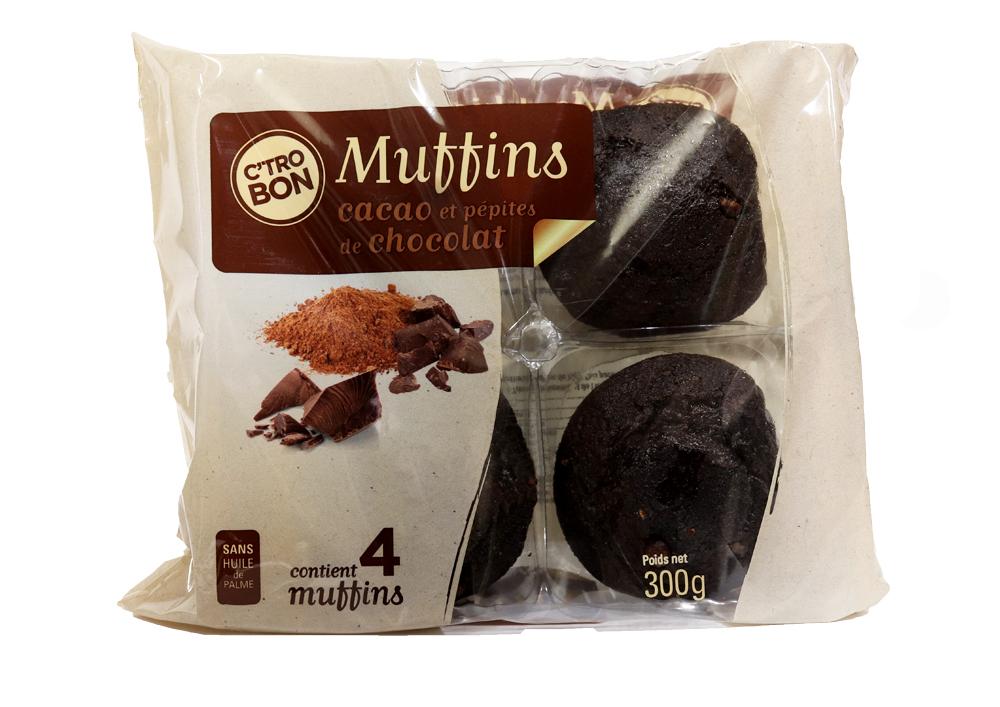 Muffins cacao aux pépites de chocolat